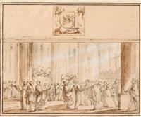 innenraum einer kathedrale mit kniendem bischof, würdenträgern und musikanten by louis joseph le lorrain