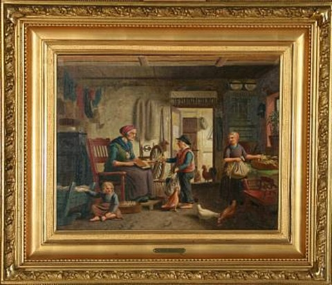 country interior with grandmother carding wool by peter johann p raadsig