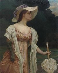 elegante dame mit schirm in parklandschaft by johanna luise groppe