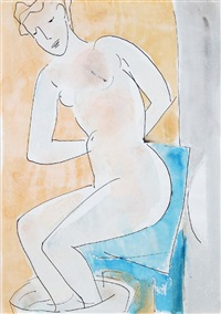 sitzender weiblicher akt beim fußbad by wilhelm lachnit