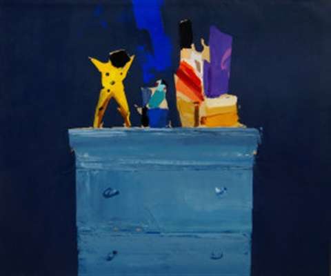 still life toys on a chest by donald hamilton fraser