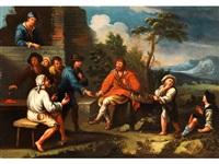 italienische landsleute beim ringelwurfspiel by paolo monaldi
