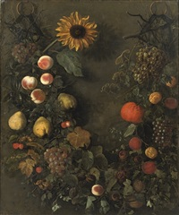 a fruit garland with grapes, peaches, mandarins, cherries, pears and other fruit by cornelis kick