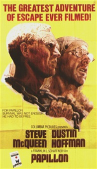 "movie: steve mcqueen and dustin hoffmann in ""papillon"" (on 2 joined sheets) by tom jung"