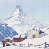 das matterhorn an einem sonnigen wintertag by karl anneler