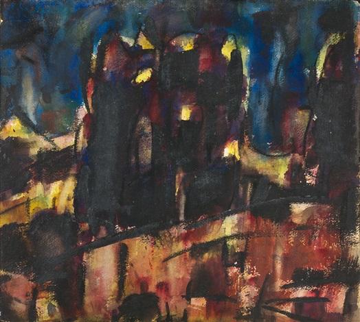 dunkle landschaft (kloster andechs) by christian rohlfs