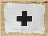 black cross on white by robert longo