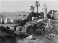 antike ruinen von karthago mit blick auf das mittelmeer by paul reiffenstein