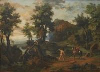 landskap med vildman och ryttare by jean victor bertin