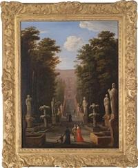 eine elegante gesellschaft in den gärten der villa d'este in tivoli vor der großen kaskade des pirro ligorio by johann wilhelm baur