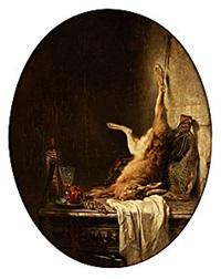 stilleben med hare och druvor by philippe rousseau