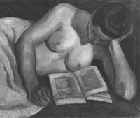 nu couché, lisant by pierre lepage