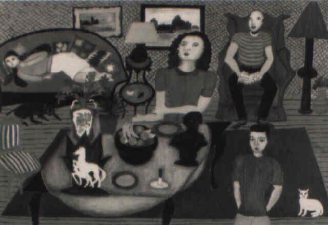 family portrait in interior by malcah zeldis