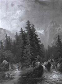 reichenbachfall bei meiringen by j. goetze