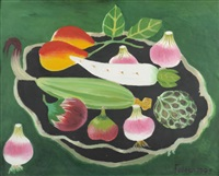 still life with fruit and vegetables by mary fedden