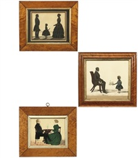 a silhouette of a gentleman, a lady and their daughter (+ 2 others; 3 works) by samuel metford