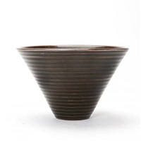 bowl, exterior modelled with fluted, horizontal pattern by arno malinowski