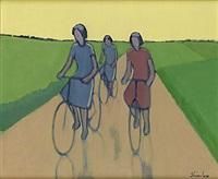 cyklande flickor i by helge linden