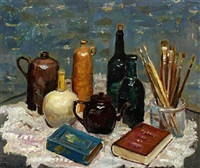 still life with brushes, bottles and books by matthias m. peschcke-køedt