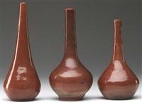 three bottle-shaped vases by arthur e. baggs