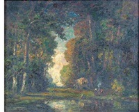 landscape with figures in a forest interior by frederick leo hunter