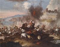 eine schlacht zwischen christlicher und türkischer reiterei unter den mauern einer befestigten stadt by antonio calza