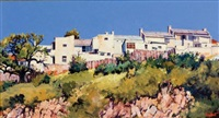 houses on a hill ii (port elizabeth) by ted (tjeerd adriaanus johannes) hoefsloot