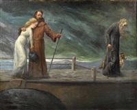 mystische szene mit mönch, junger frau und altem mann mit hund auf einer brücke by ludwig ritt