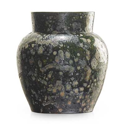 Large Vase Green And Gunmetal Blister Glaze By George Edgar Ohr On