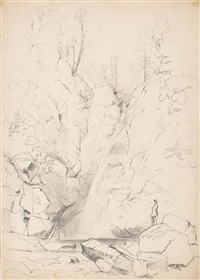 spruce hole falls on the ellis river (alternately known as glen ellis falls) by benjamin champney