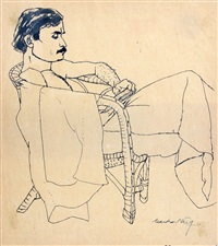 man met boek in een stoel by surendran nair
