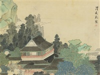 pavilion in enchanted mountains by ren xiong