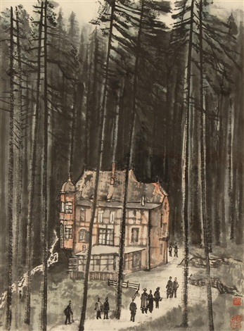 european building and forest by li keran