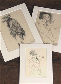 a smoking man with hat (+ 2 others; 3 works) by herman moerkerk
