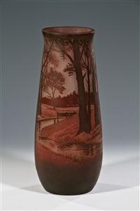 vase mit bachlandschaft by glashüttenwerke weisswasser