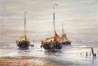vue de plage avec bateaux de pêche au coucher de soleil by hendrik vader