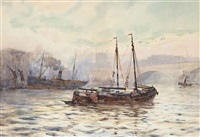 shipping on the thames before london bridge by frederick william scarborough