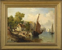 a coastal landscape with fishermen gathering their catch by j.m. atkinson