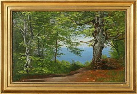 forest glade with a view to the sea by carl vilhelm aargaard