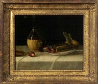 still life with wine, sardines and cigar by nicholas alden brooks