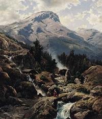 hochalpenlandschaft mit wildbach, mühle und sennhütte by johann wilhelm lindlar