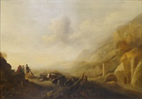 pastoral scene with figures, cattle and sheep at an encampment near ruins by hendrick mommers