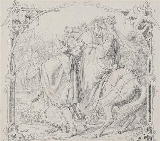 wie kriemhild bei den hunnen empfangen wird by hermann anton stilke