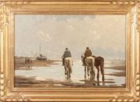horses on beach by johannes hermanus barend koekkoek