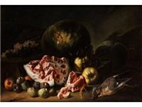 grosses stilleben mit melonen, feigen und einem toten vogel by anonymous-italian