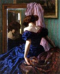 dame in blauem kleid vor dem spiegel by ludwig von langenmantel