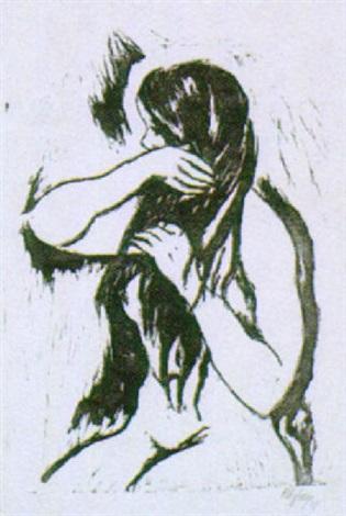 mädchenakt die haare kämmend by joachim ragoczy