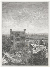 the house with the peristyle: right half of undivided plate by canaletto