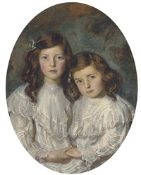 double portrait of two sisters in white dresses by daniel albert wehrschmidt
