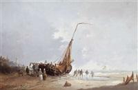 scène de plage animée de pêcheurs au travail by hendrik vader